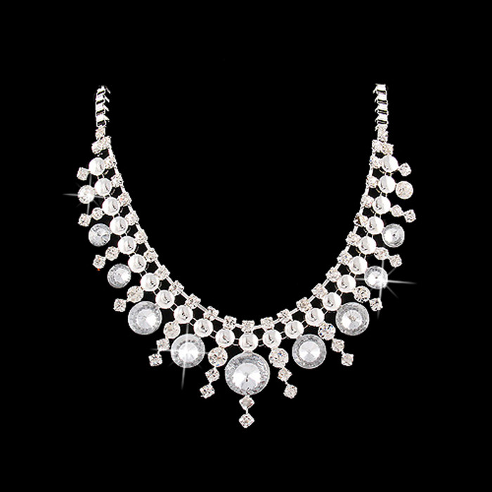 Stunning Chic Modern Dazzling Crystal Multi Dot Design Fashion Necklace Silver