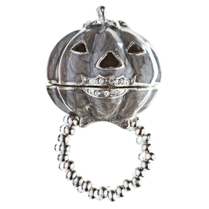 Halloween Costume Jewelry Fun Pumpkin Face Locket Design Stretch Ring Black