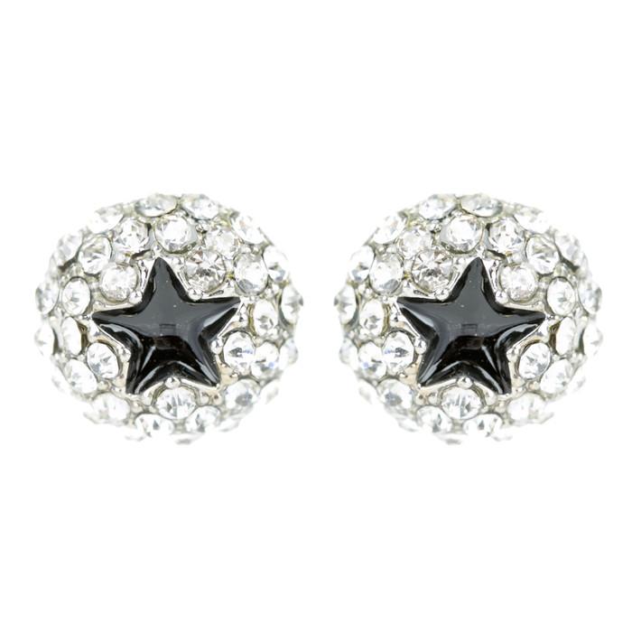 Dazzling Crystal Rhinestone Star Round Fashion Stud Post Earrings E1194 Silver