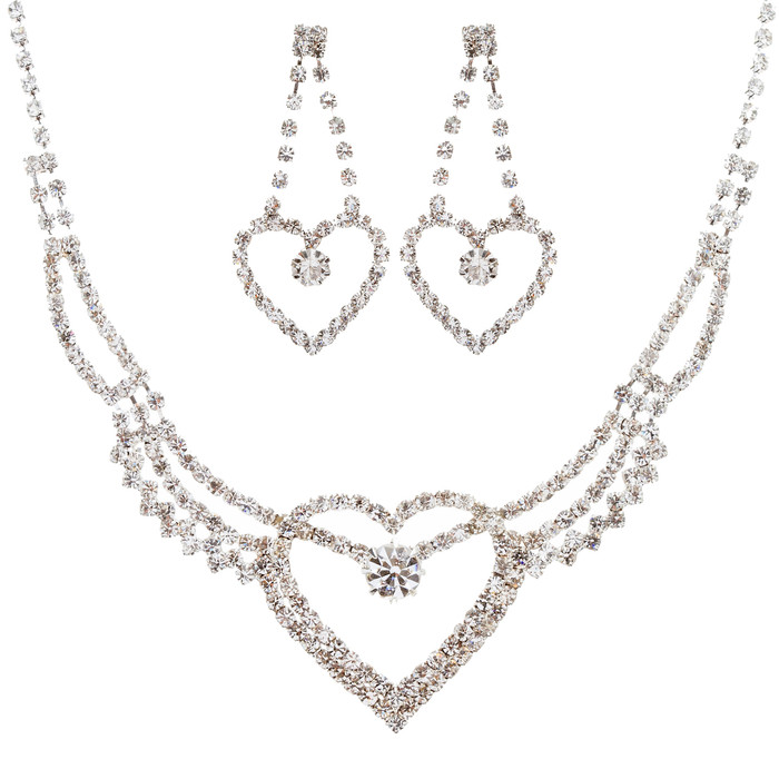 Bridal Wedding Jewelry Prom Heart Crystal Rhinestone Necklace Set J458 SV