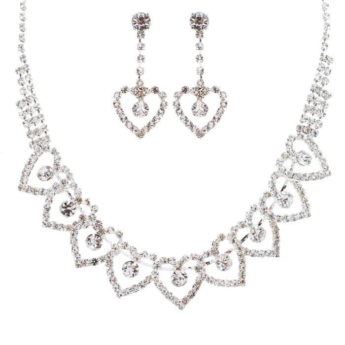 Bridal Wedding Jewelry Prom Heart Link Crystal Rhinestone Necklace Set J459 SV