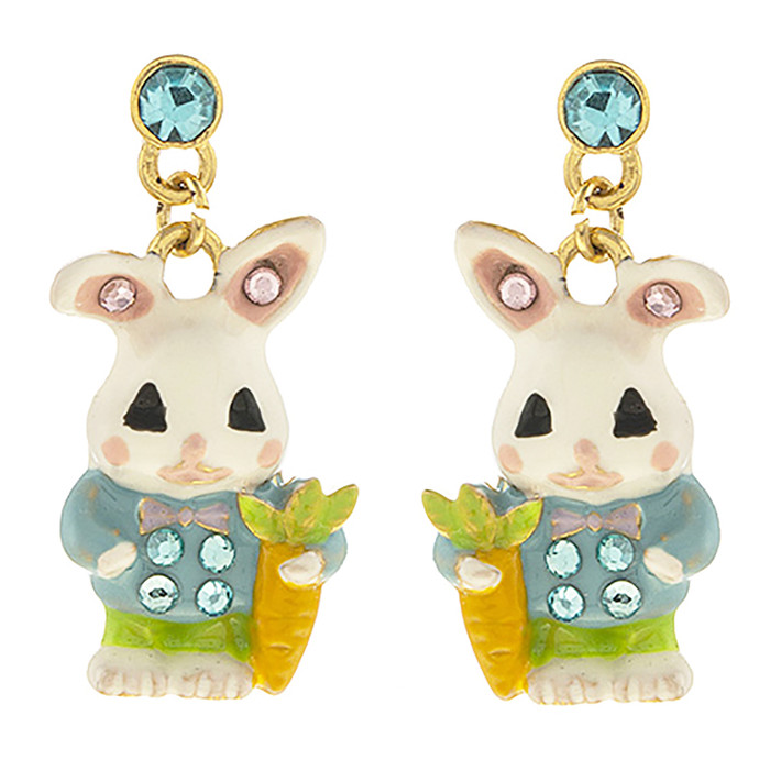 Spring Easter Jewelry Crystal Bunny Carrot Charm Fashion Dangle Earrings E1205
