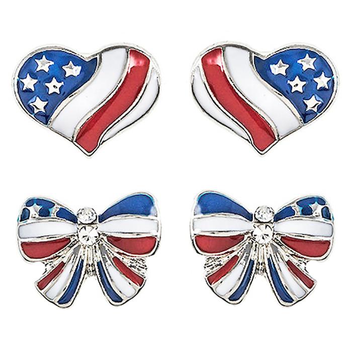 Patriotic Jewelry American Flag Heart Ribbon 2 Pairs Fashion Earrings E1206