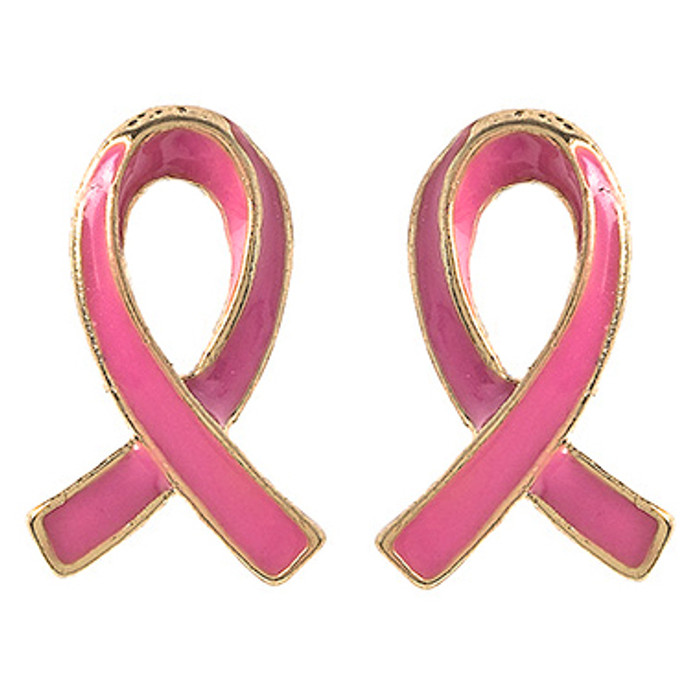 Pink Ribbon Jewelry Breast Cancer Awareness Charm Stud Mini Earrings E1208 Gold