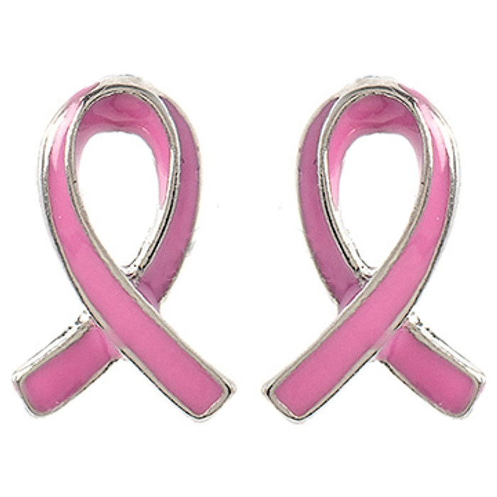 Pink Ribbon Jewelry Breast Cancer Awareness Charm Stud Mini Earrings E1208 SV