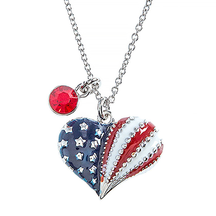 Patriotic Jewelry Crystal Rhinestone Heart Charm Fashion Necklace N110 Silver
