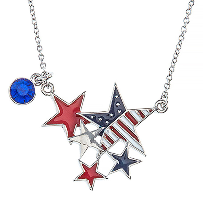 Patriotic Jewelry Crystal Rhinestone Stars Charm Fashion Necklace N111 Silver