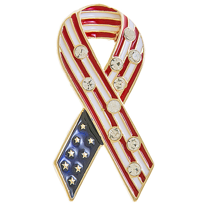 Patriotic Jewelry American Flag Breast Cancer Awareness Brooch Pin BH227 Gold