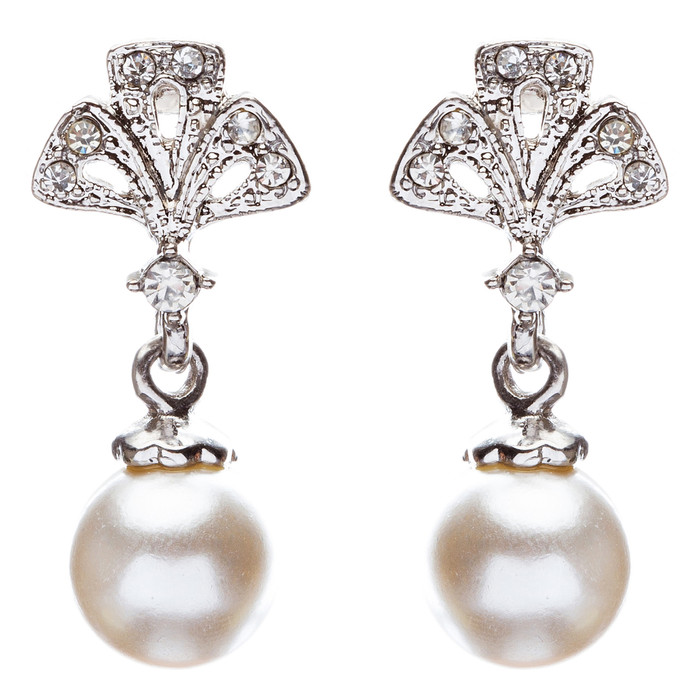 Bridal Wedding Jewelry Crystal Rhinestone Pearl Trendy Chic Dangle Earrings E869
