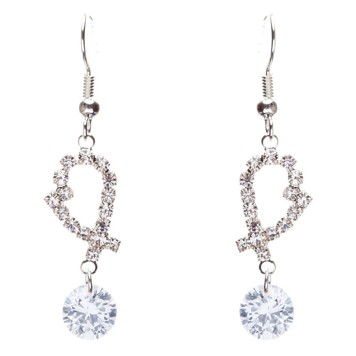 Bridal Wedding Jewelry Prom Crystal Rhinestone Classic Dangle Earrings E871
