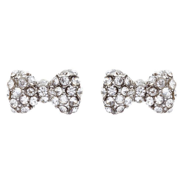 Adorable Sparkling Crystal Rhinestone Mini Bow Tie Design Fashion Earrings E476