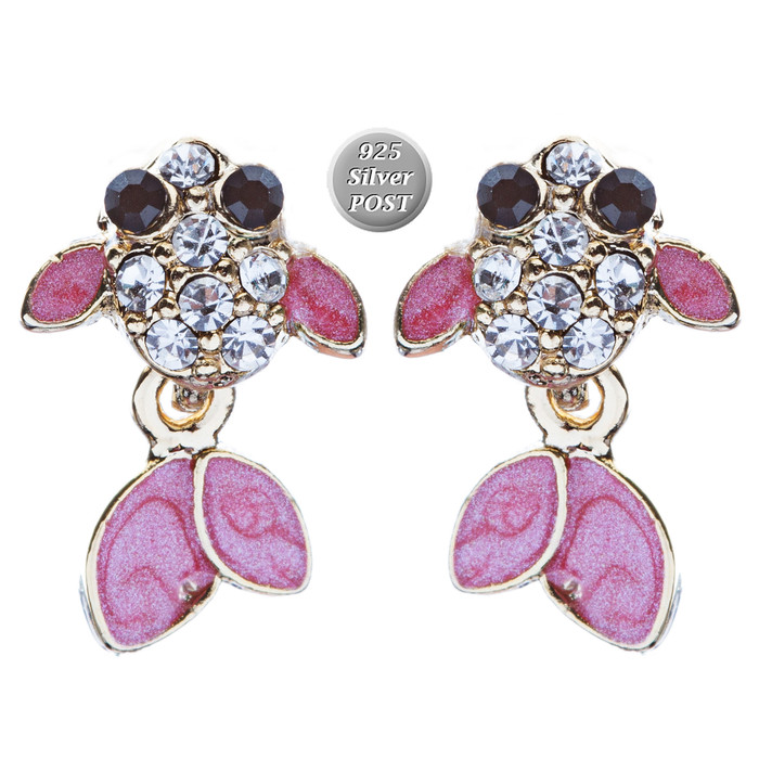 Adorable Crystal Accent Fish Tiny Stud Style Fashion Earrings E504 Gold Pink