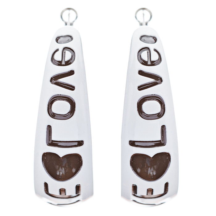 Woman Fashion Lucite Hoop Earrings Love Heart White