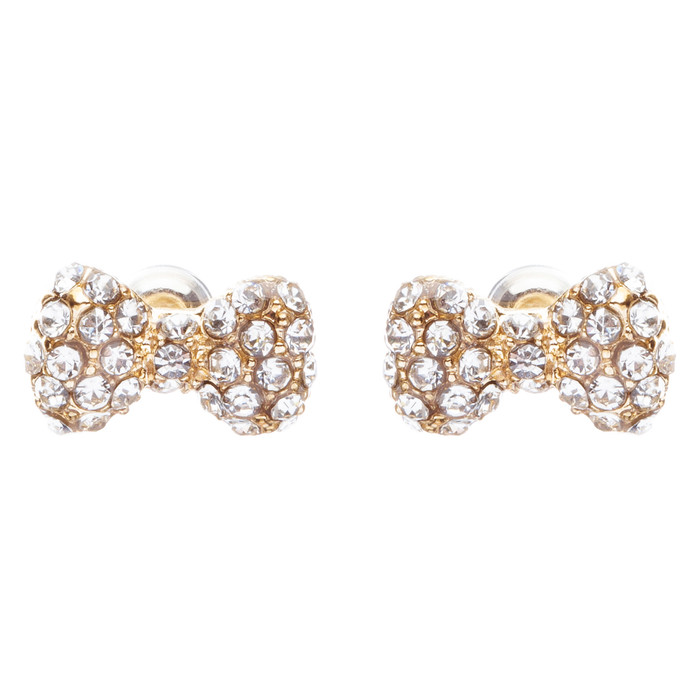 Adorable Mini Bow Tie Ribbon Sweet Fashion Stud Style Earrings E872 Gold