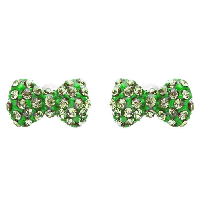 Adorable Mini Bow Tie Ribbon Sweet Fashion Stud Style Earrings E872 Green