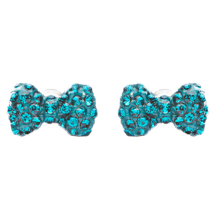 Adorable Mini Bow Tie Ribbon Sweet Fashion Stud Style Earrings E872 Teal