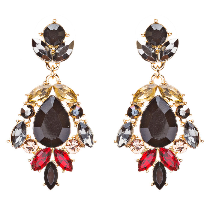 Modern Fashion Crystal Rhinestone Stylish Dangle Earrings E707 Black
