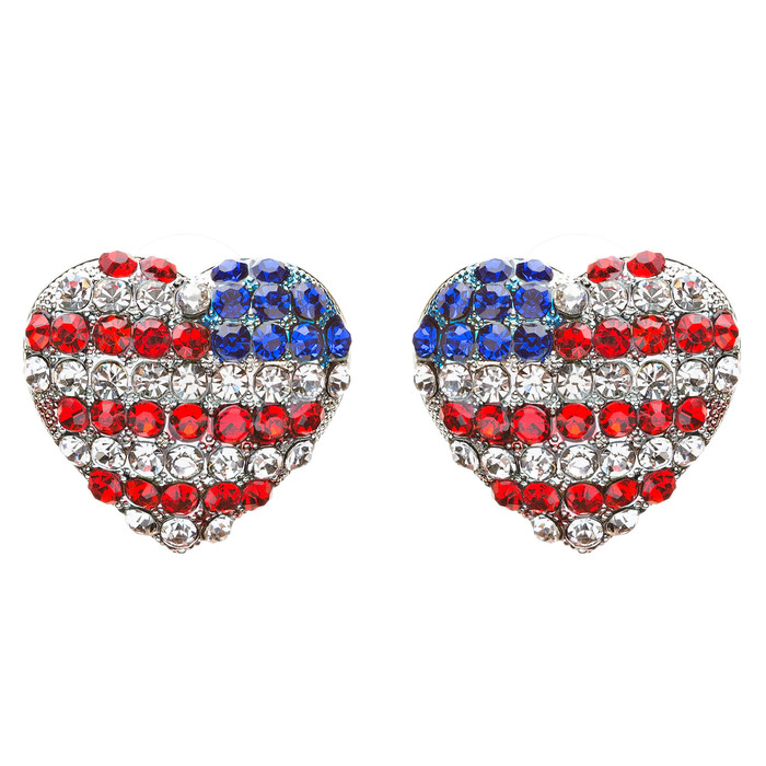 Patriotic Jewelry Crystal Rhinestone  Lovely Heart Shape Stud Earrings E708 SV