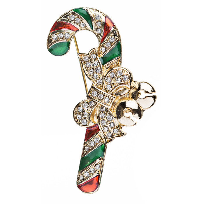 Christmas Jewelry Crystal Rhinestone Sparkling Candy Cane Ribbon Brooch Pin BH62