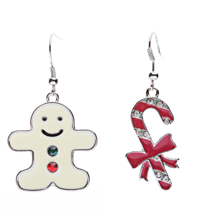 Christmas Jewelry Crystal Rhinestone Gingerbread Man Candy Cane Earrings E639