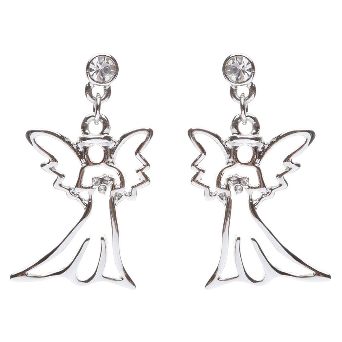 Christmas Jewelry Crystal Rhinestone Beautiful Angel Charm Dangle Earrings E646