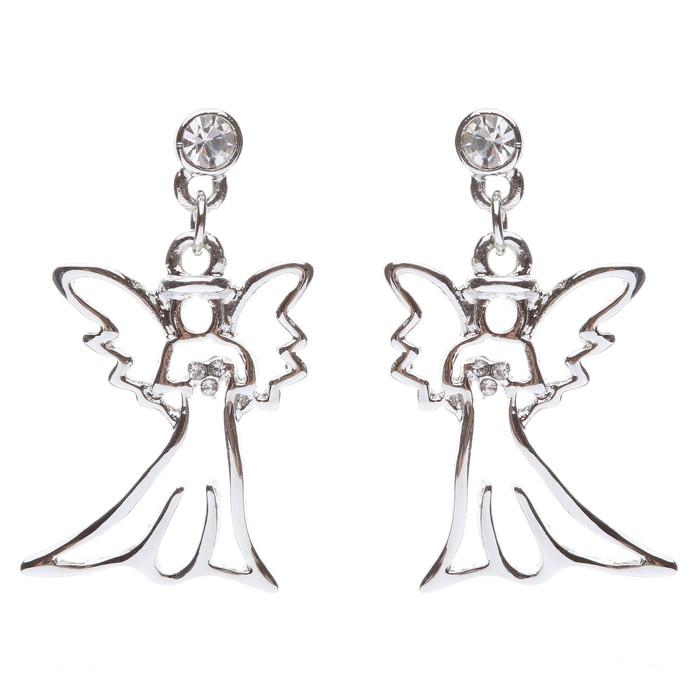 Christmas Jewelry Crystal Rhinestone Beautiful Angel Charm Dangle Earrings E646