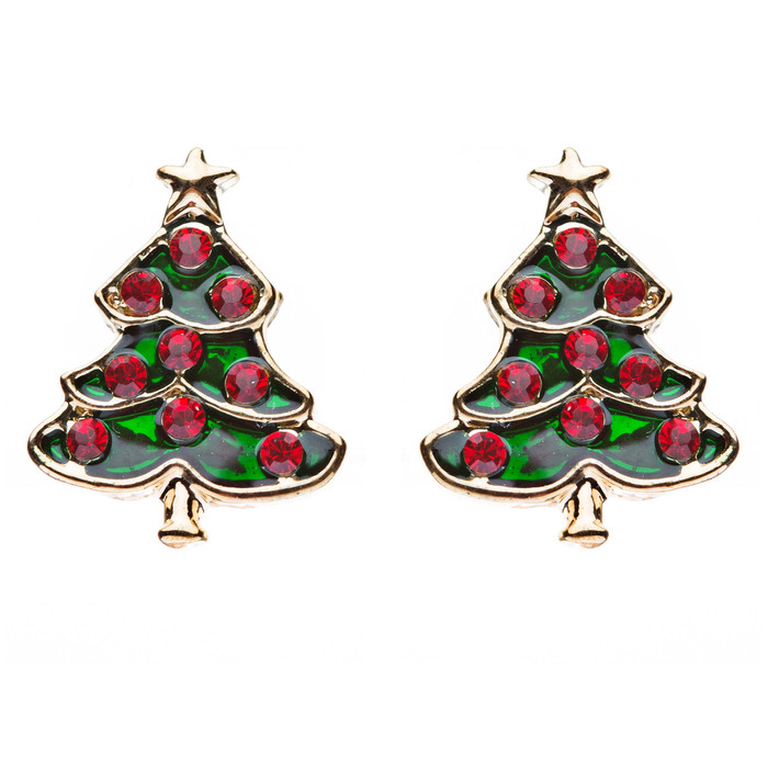 Christmas Jewelry Crystal Rhinestone Adorable Tree Small Earrings E647 Red