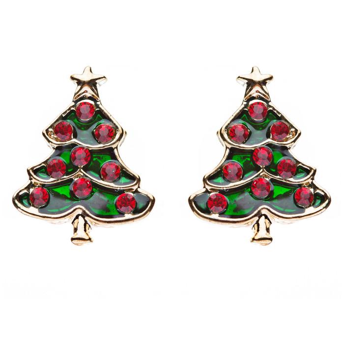 Christmas Jewelry Crystal Rhinestone Adorable Tree Small Earrings E647 Red