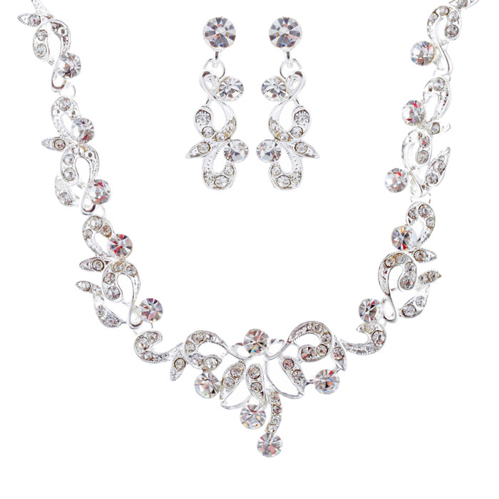 Bridal Wedding Prom Jewelry Set Crystal Rhinestone Stunning Design J410 Silver