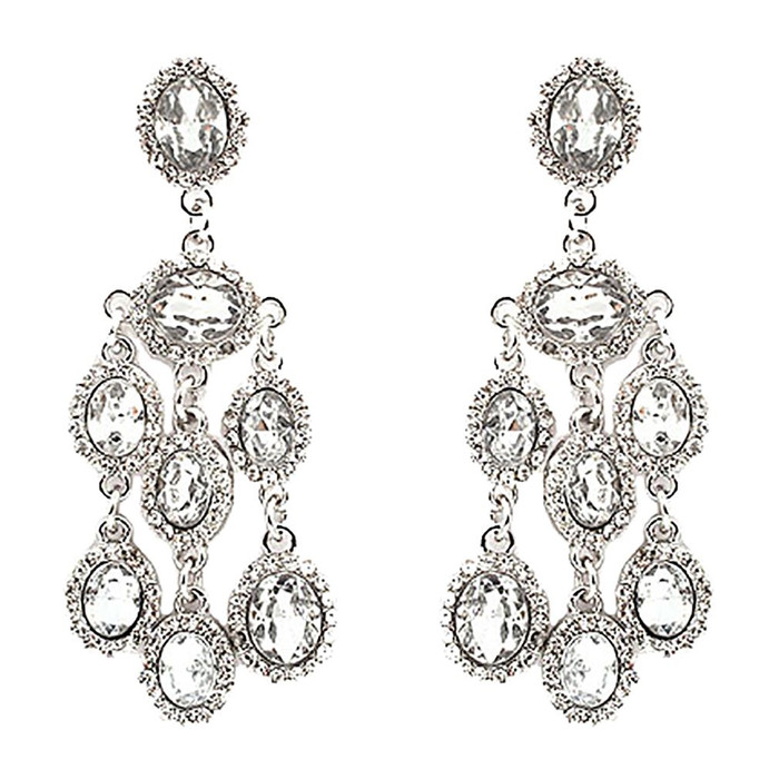 Bridal Wedding Jewelry Crystal Rhinestone Dangle Drop Earrings E606