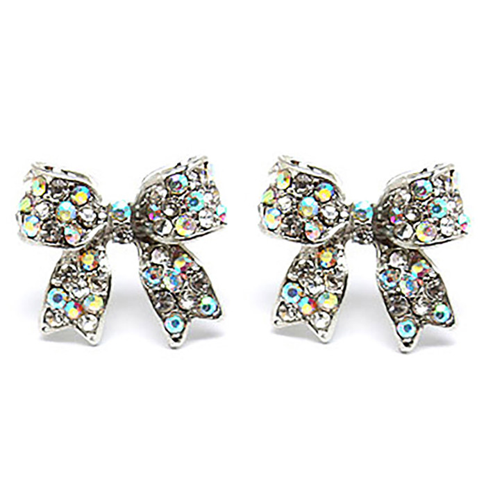 Fashion Crystal Pave Bow Ribbon Stud Earrings Silver AB