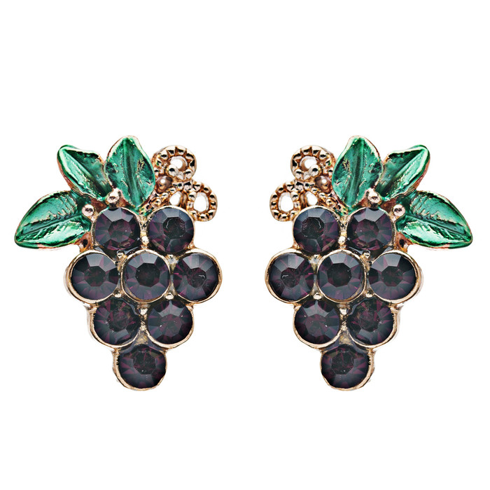 Adorable Crystal Rhinestone Grape Fruit Charm Stud Post Earring E489 Gold Purple