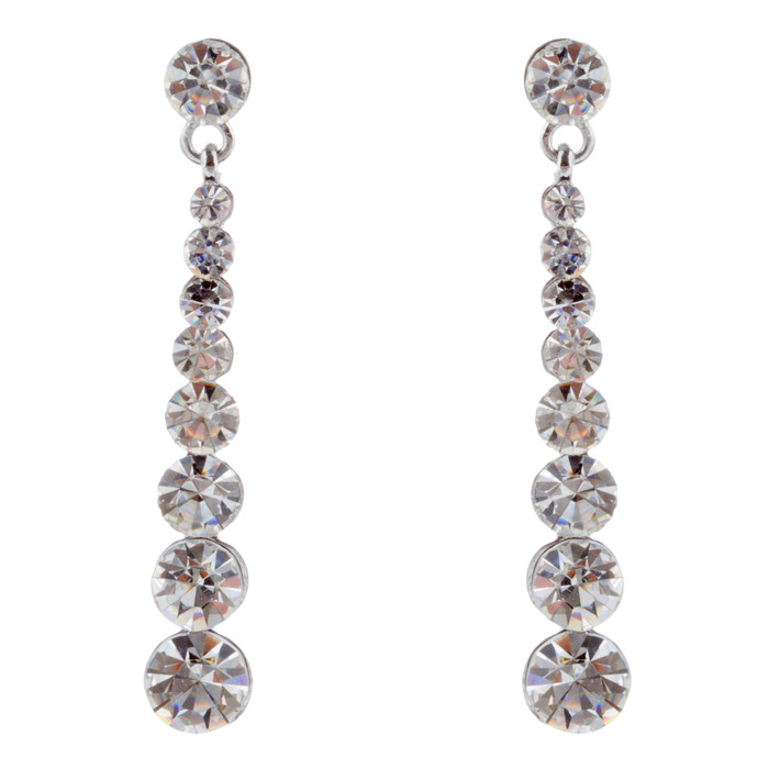 Bridal Wedding Prom Jewelry Crystal Rhinestone Linear Drop Earrings E436