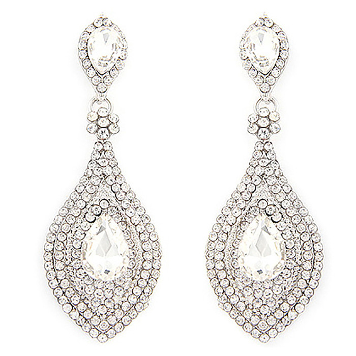 Bridal Wedding Prom Jewelry Crystal Rhinestone Chic Classic Dangle Earrings E612