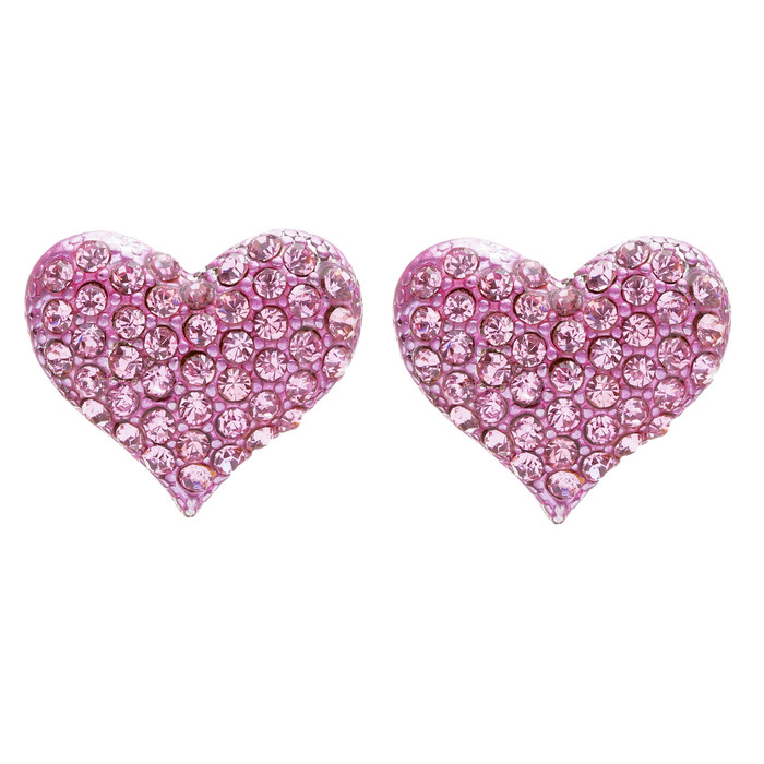 Lovely Sweet Beautiful Heart Shape Valentine's Stud Post Earrings E679 Pink