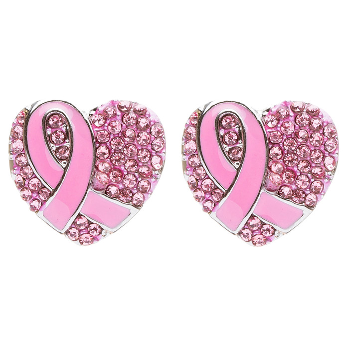 Pink Ribbon Breast Cancer Awareness Jewelry Crystal Heart Stud Post Earrings