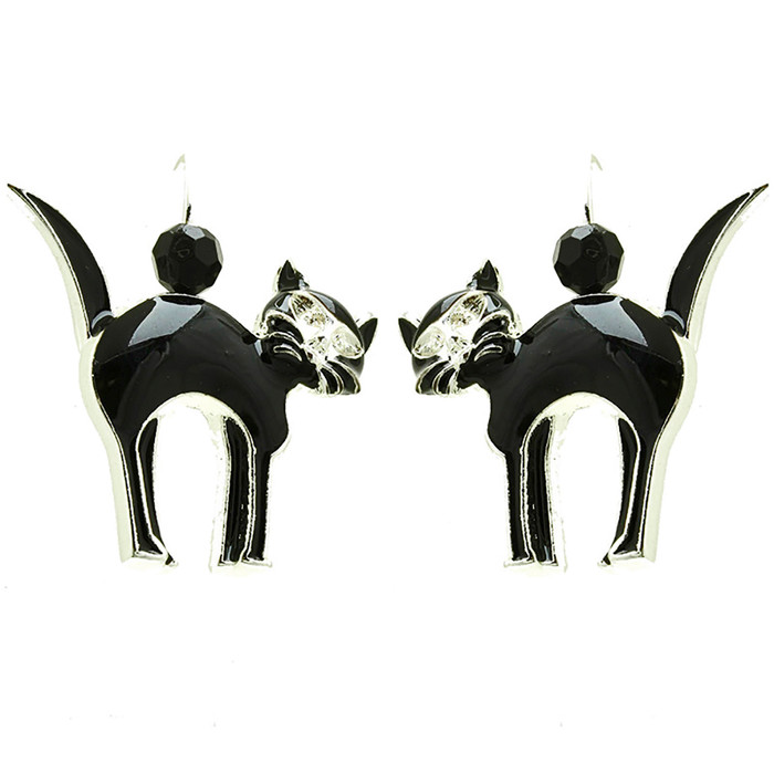 Halloween Costume Jewelry Crystal Rhinestone Black Cat Earrings E1216 Black