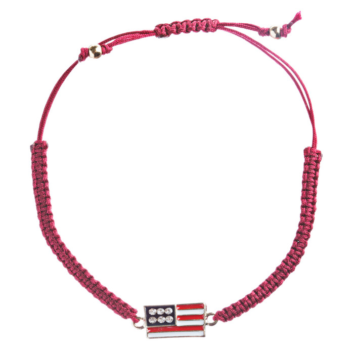Patriotic American Flag Crystal Rhinestone Braided Adjustable Bracelet B366 Red