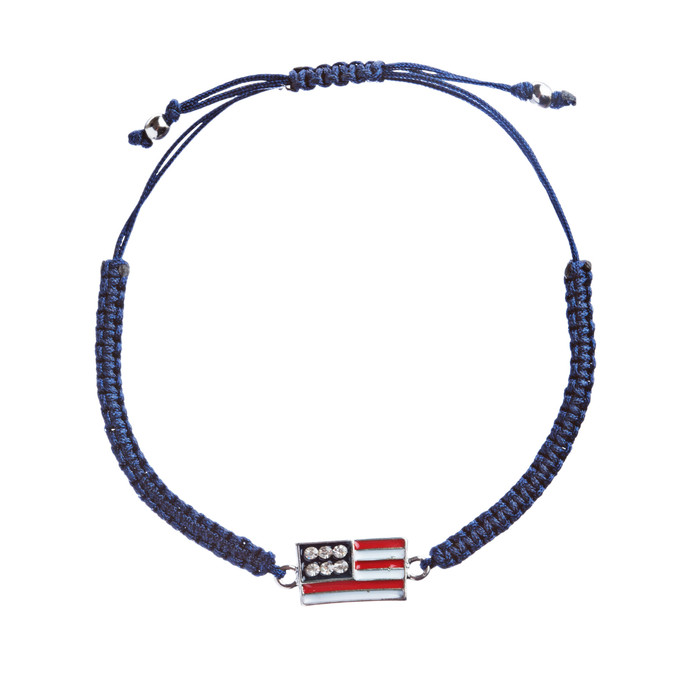 Patriotic American Flag Crystal Rhinestone Braided Adjustable Bracelet B366 Blue