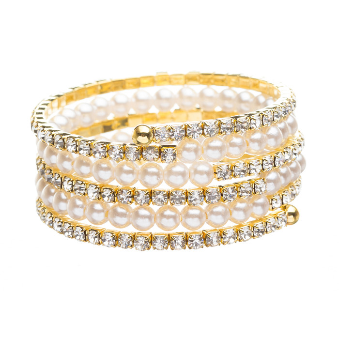Bridal Wedding Jewelry Crystal Rhinestone Pearl Beautiful Wrap Bracelet B402 GD