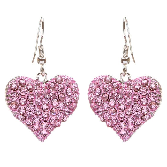 Lovely Sweet Beautiful Heart Shape Charm Valentine's Dangle Earring E678 Pink