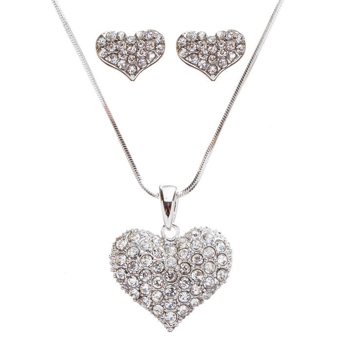 Lovely Sweet Beautiful Heart Shape Valentine's Day Necklace Set JN166 Silver