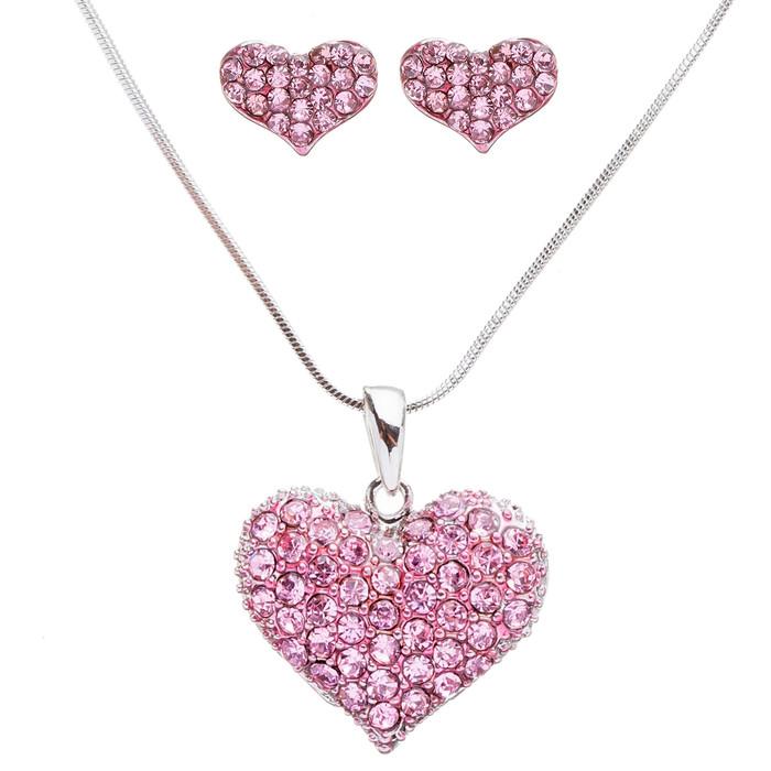 Lovely Sweet Beautiful Heart Shape Valentineu0027s Day Necklace Set JN166 Pink