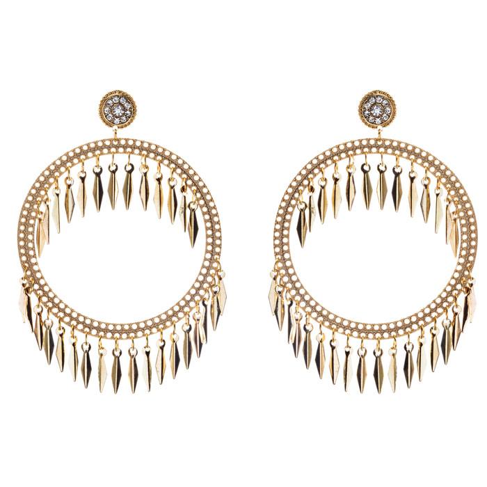 Draped Tassel Dangle Hoop Crystal Earrings Gold
