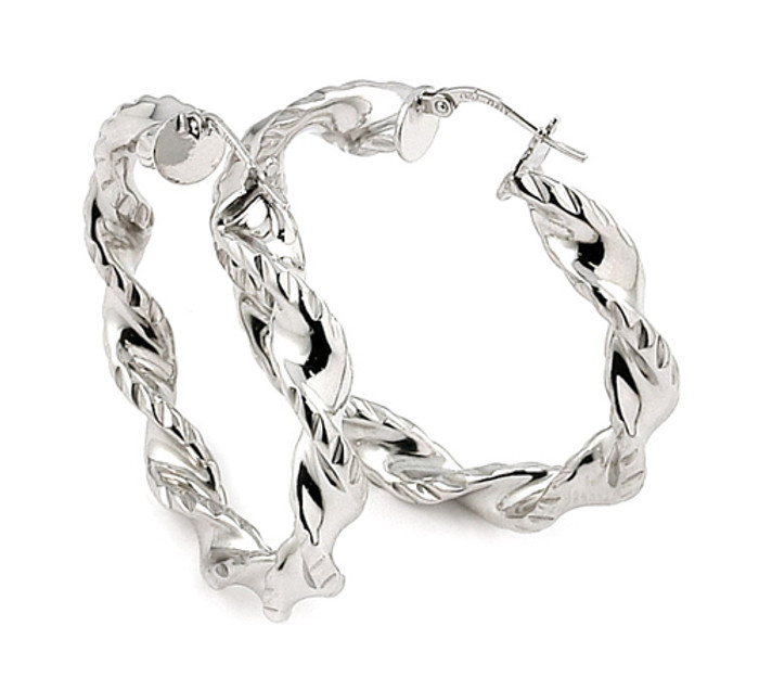 Trendi Italian Twisted 6mm x 30mm Hoop 925 Sterling