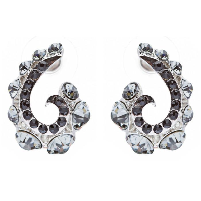 Wave Hook Design Crystal Rhinestone Stud Earring Black