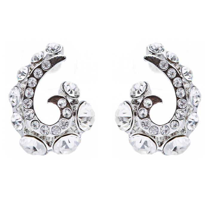Wave Hook Design Crystal Rhinestone Stud Earring Silver