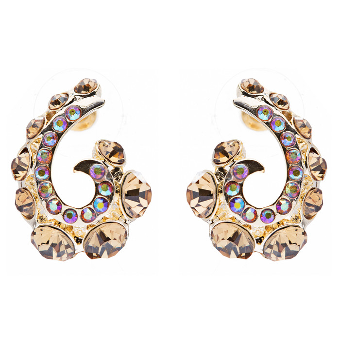 Wave Hook Design Crystal Rhinestone Stud Earring Gold