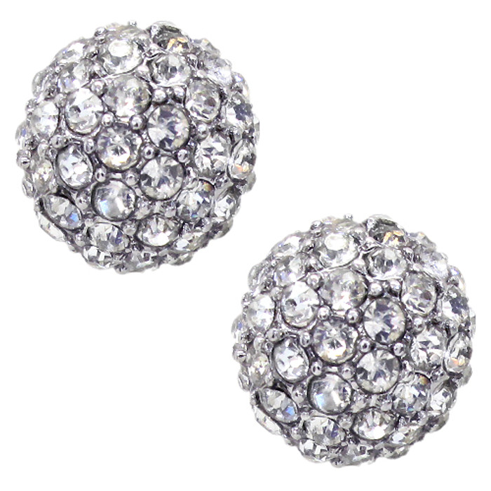 Sparkle Style Fashion Crystal Ball Stud Earrings Silver
