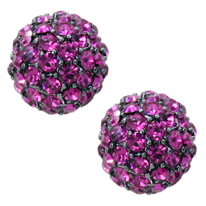 Sparkle Style Fashion Crystal Ball Stud Earrings Pink